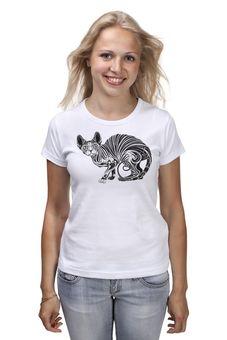 """Футболка (Женская) """"Кошечка"""" - кошка, арт, авторские майки, принт, животное"""