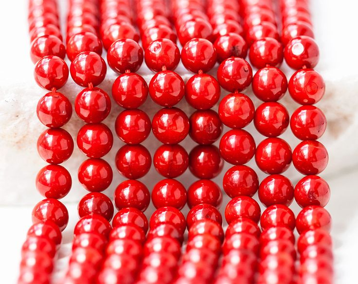 2656_Red coral beads 8 mm, Round beads, Natural coral beads, Natural coral, Coral gemstones, Round beads, Round coral, Red stone beads. by PurrrMurrr on Etsy