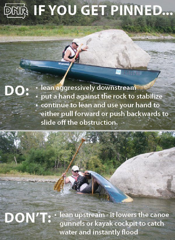 If you get pinned while canoeing or kayaking, use these maneuvers to stay safe. Get tips like these in Iowa Outdoors magazine.