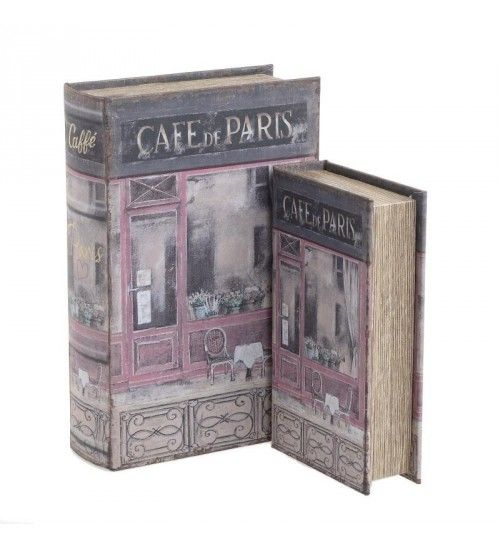 S_2 WOODEN BOX_BOOK 'CAFE DE PARIS' PINK 18X7X27