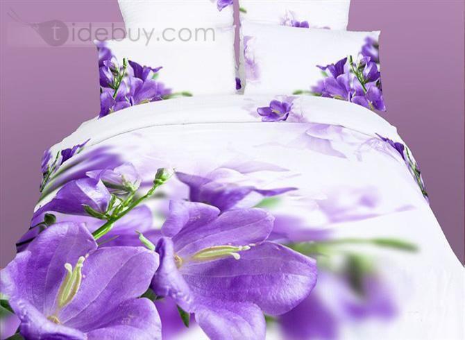 紫色の花の印刷パターン新緑の4ピースコットン寝具