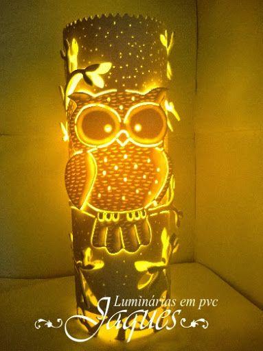 Luminária em pvc Coruja , em cano de 100mm com 30 cm de altura