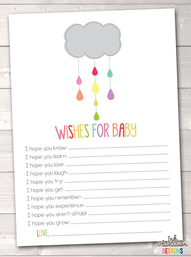 Colorful Shower Cloud Printable Baby Wishes Cards – Instant Download Printable PDF