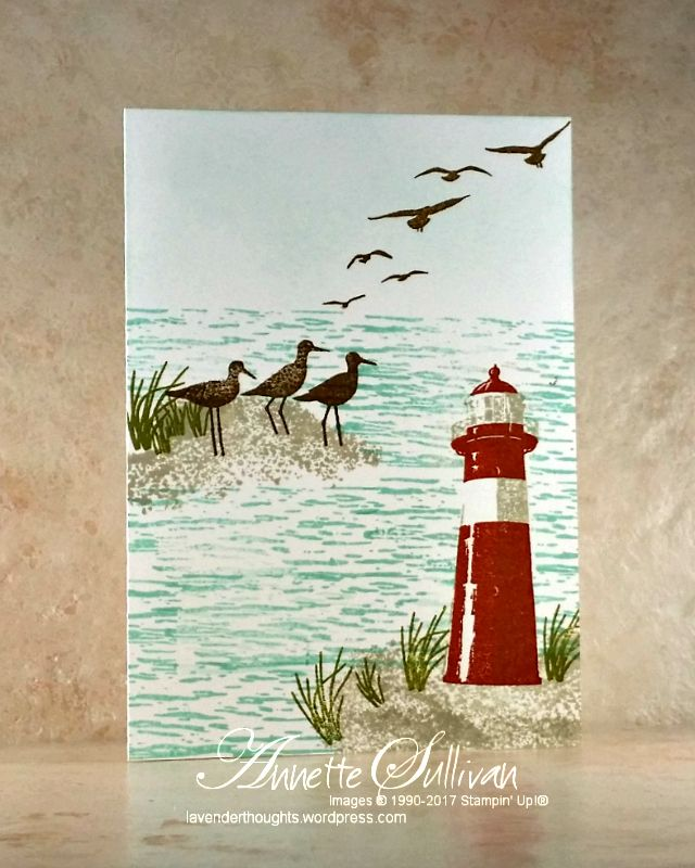"""I love lighthouses and the new High Tide stamp setuses two-step stamping to create a very realistic image. Tips: The card base is Thick Whisper White (21cm x 14.8cm scored at 10.5cm OR 8½"""" x…"""
