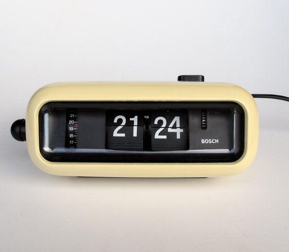 Vintage Flip Clock Alarm Clock / Bosch UDW2 by TheCuriousCaseShop | CLOCKS
