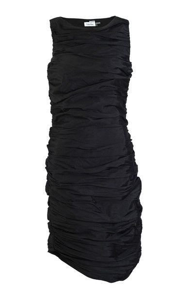 Calvin Klein Sleeveless Black Ruched Satin Cocktail Dress SZ 4