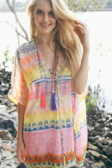 Ruby Yaya Indalia Temple Orange Multi Kaftan