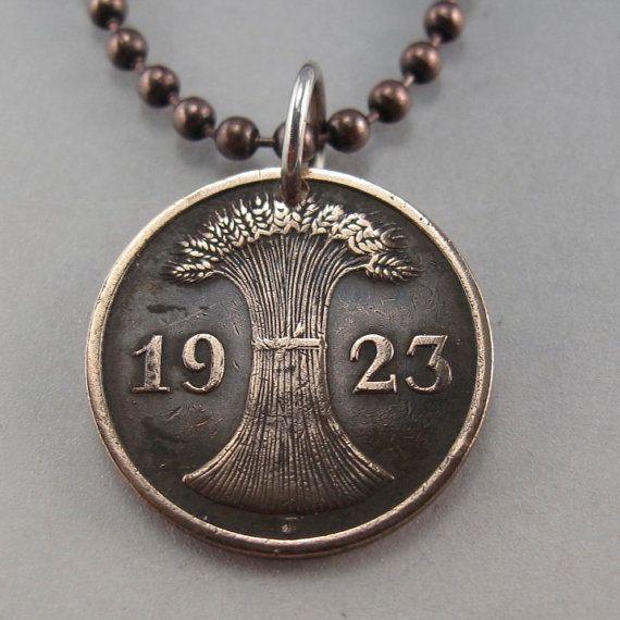 COIN JEWELRY - GERMANY necklace - antique coin jewelry -  German pfennig -  Deutschland Charm Pendant - reich -  wheat sheath 1924 No.001305