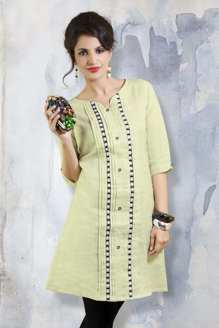 Green Linen Designer Kurti
