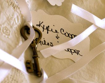 POSTO CHIAVE Carte Skelton: Set di 10 Vintage Steampunk Wedding Escort da visita, numeri da tavolo, Shabby Chic, Country