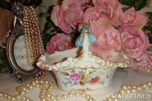 GORGEOUS - Limoges France - Basket - Vase - METICULOUSLY Hand Painted - Romantic Victorian Bouquet - Pink Tea Roses - Mums - Forget-Me-Not Blossoms - Blue Ribbon Handle - Artist Signed - Dated 1893 - French Antique Heirloom
