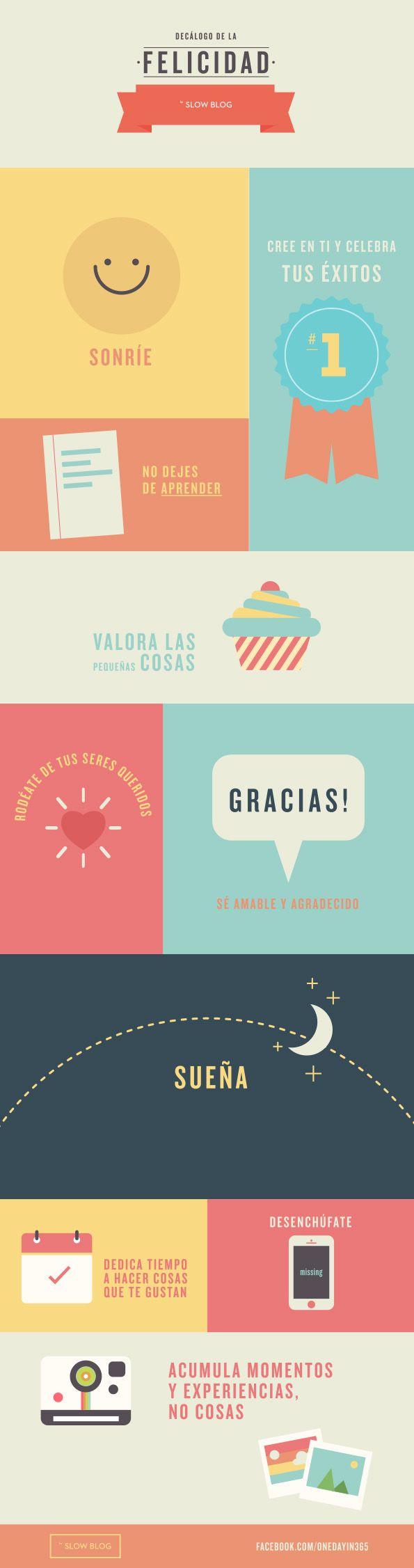 Diez pistas para transitar por una vida feliz. Decálogo de la #Felicidad #infografia