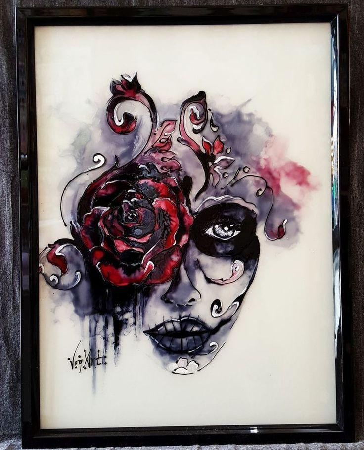 Frauengesicht mit Rose , Glasmalerei Bild