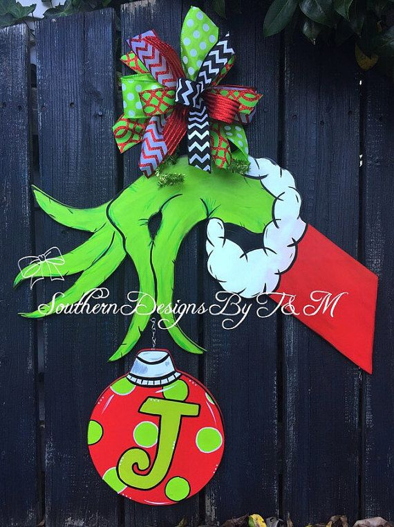 The Grinch Hand door hanger Grinch wooden by SouthernDesignsByTM