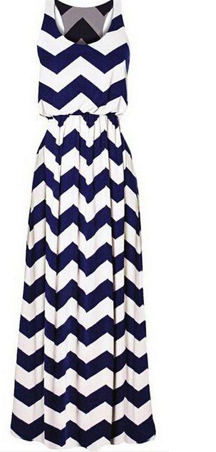 Sexy Attractive Striped Wave Women Maxi Long Vest Dress Summer Beach Dresses