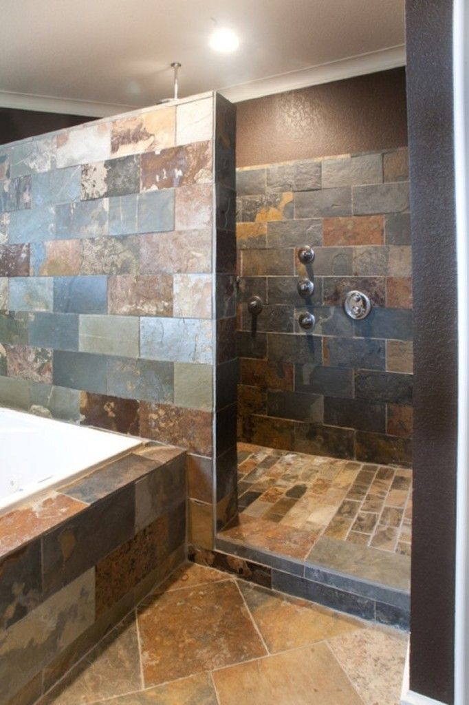 Bathroom Dop In Bathtub Combined With Spacious Wall In Shower Without Door Design Plus Unique