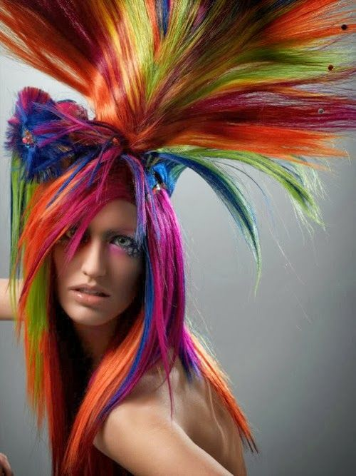 Artistic, colourful, hair