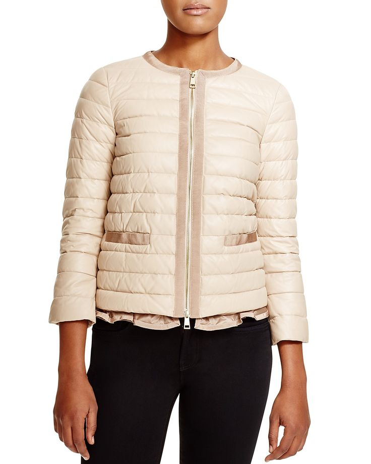 Moncler Ombrine Quilted Leather Down Jacket