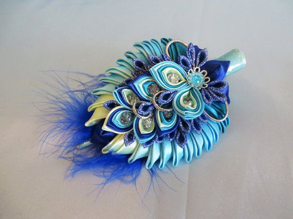 Gorgeous Peacock Hair Clips by KanzashiAccessories on Etsy