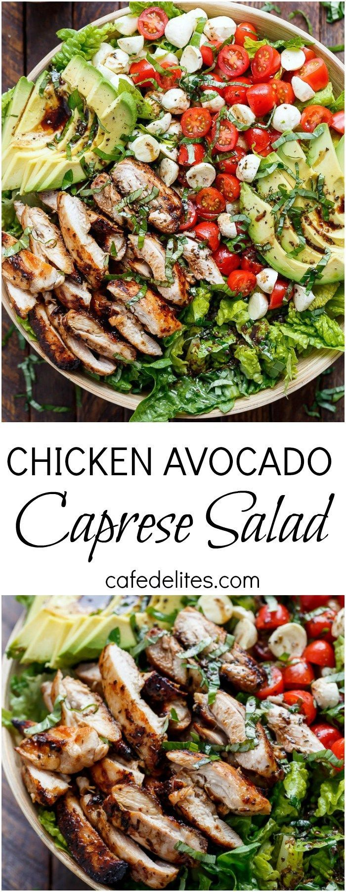 Balsamic Chicken Avocado Caprese Salad is a quick and easy meal in a salad drizzled with a balsamic dressing that doubles as a marinade.
