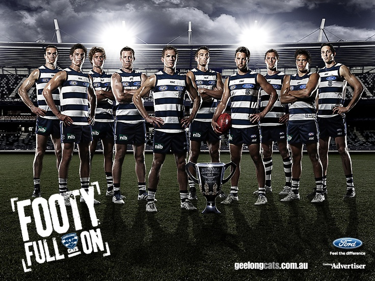 Geelong Cats with their 2011 AFL Premiership Cup. This is what mummy was making all that noise for when Squishy was still cooking!