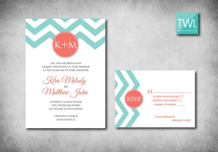 Coral and Aqua Chevron Wedding Invitation and by TheWhiteInvite, $3.00