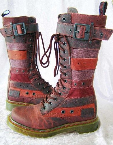 ☯☮ॐ American Hippie Bohemian Style ~ Multi color leather Dr Martin boots! Ohhhhhh I want.