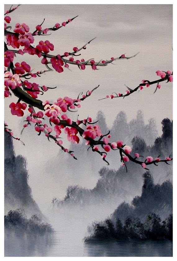 Art de la fleur de cerisier, murale fleur de cerisier, art japonais fleur de cerisier impression. Qualité darchivage Giclee imprimer sur papier photo
