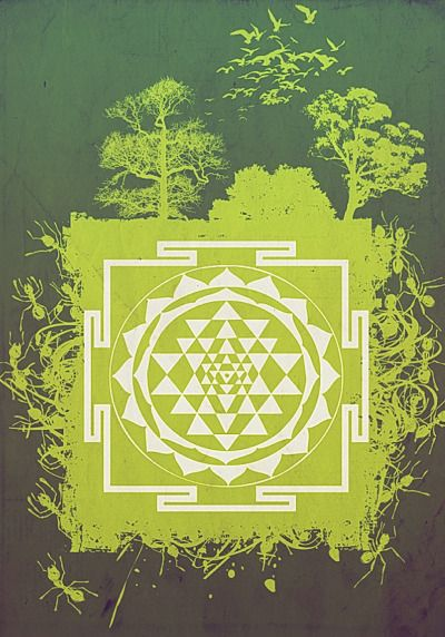Sri Yantra Filip Aura (2007) design for textile screenprint