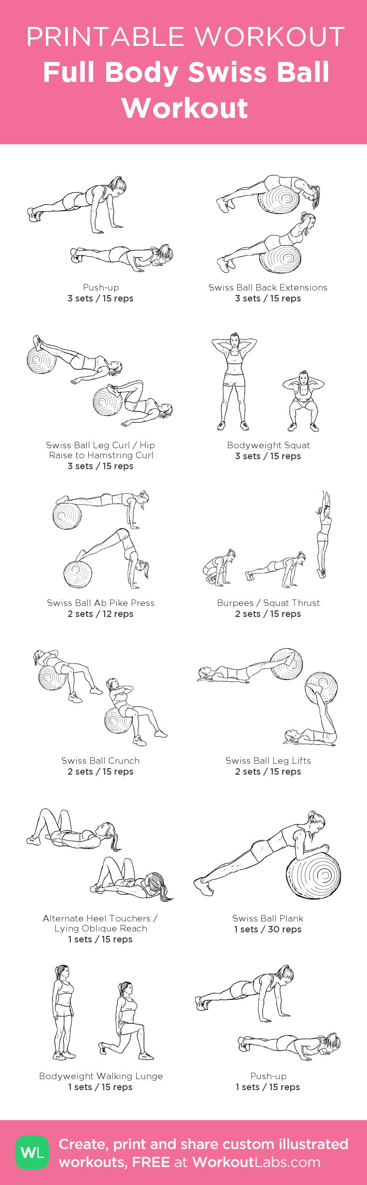 Full Body Swiss Ball Workout – my custom workout created at WorkoutLabs.com • Click through to download as printable PDF! #customworkout