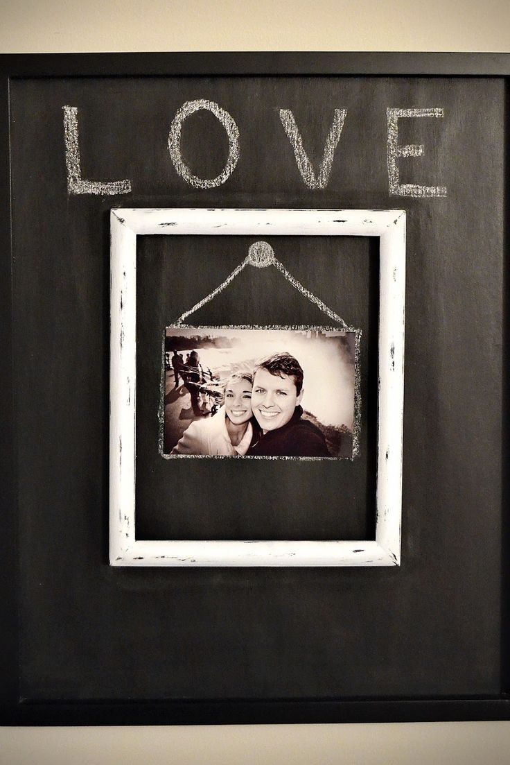 Personalize a picture frame with chalkboard paint.