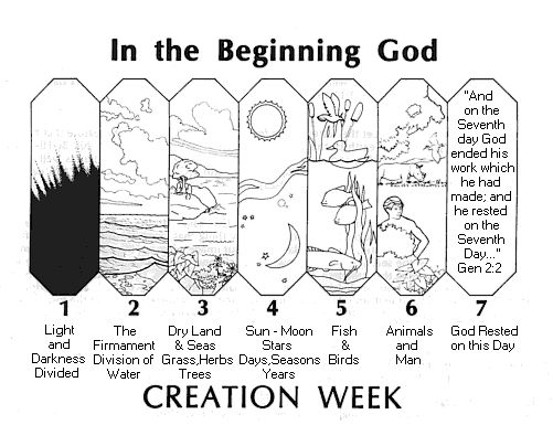 7 Days Of Creation Bookmark Look Find This Pin And More On Bible Coloring Pages