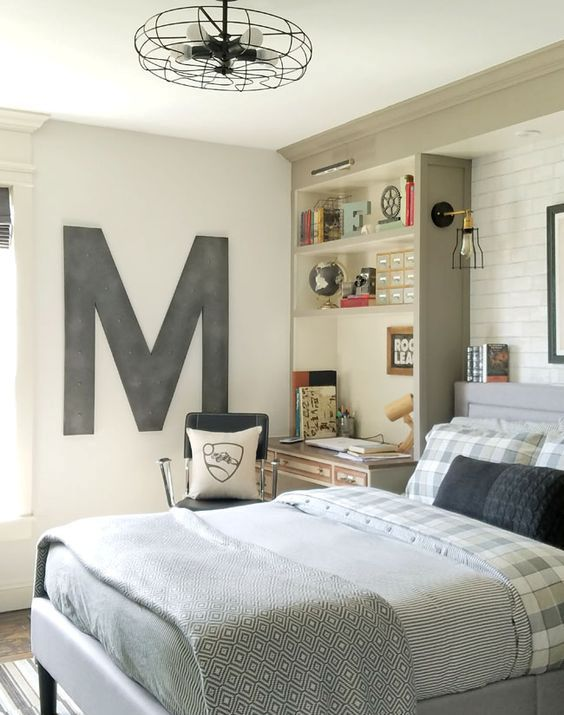 03 industrial vintage teen boy bedroom with a gorgeous comfy bed and a soft headboard - Boy Bedroom Design Ideas