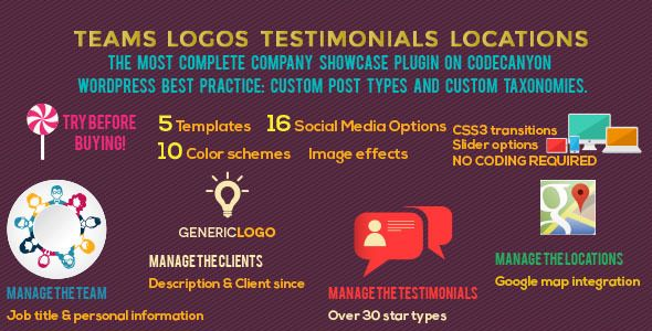 Teams Logos Testimonials Locations WordPress Plugin