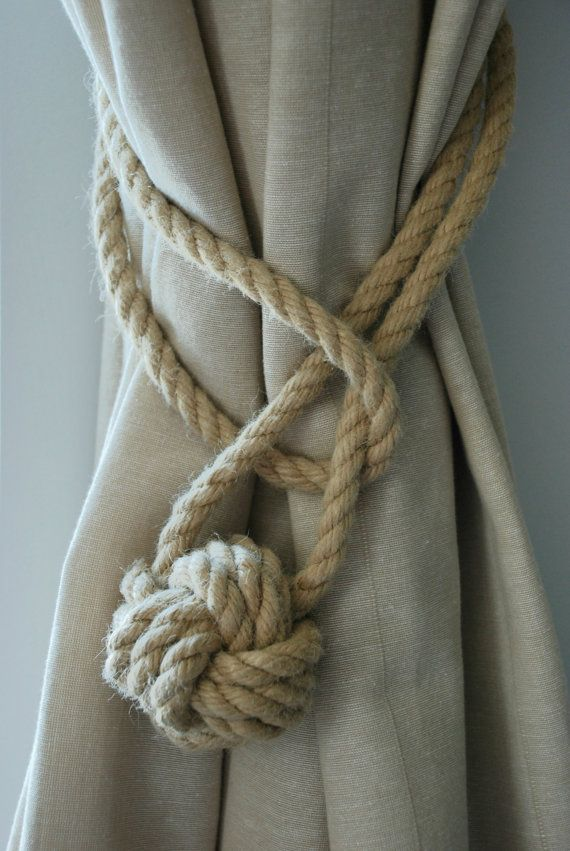 Hemp Rope Tiebacks/ Rustic Hemp Rope ties/ Monkey Fist Knot