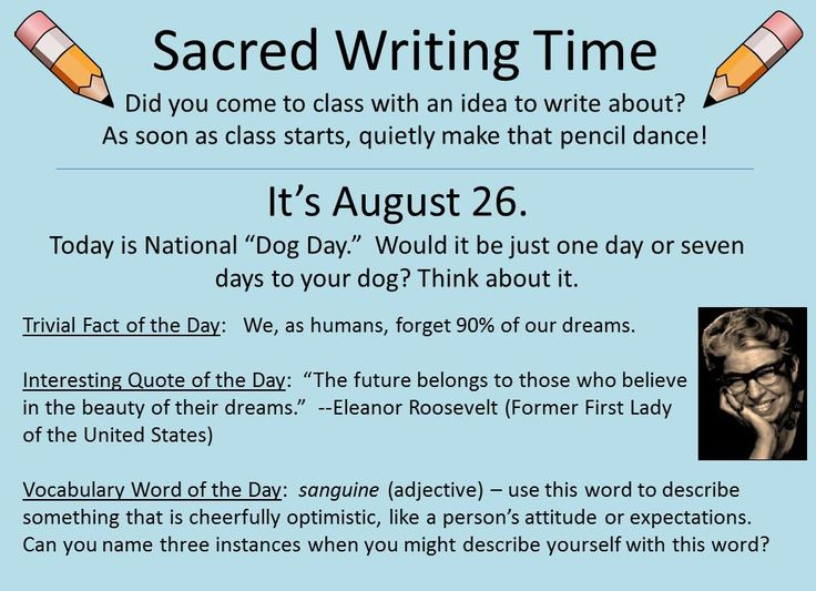 Our Sacred Writing Time slides have become our best-selling product at our writer's notebook-friendly site. We provide the August 15-Sept 15 slides at no cost (http://corbettharrison.com/documents/SWT/SWT-August-PPT-Free.pdf )--so you can see if they inspire ten minutes of fresh, original writing from your students. Which of the four daily prompts might inspire 10-minutes of writing from your students this Tuesday? More free info about sacred writing time…