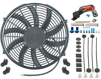 """14"""" Inch Electric Cooling Fan 12 Volt Push-In Radiator Fin Probe Thermostat Kit"""