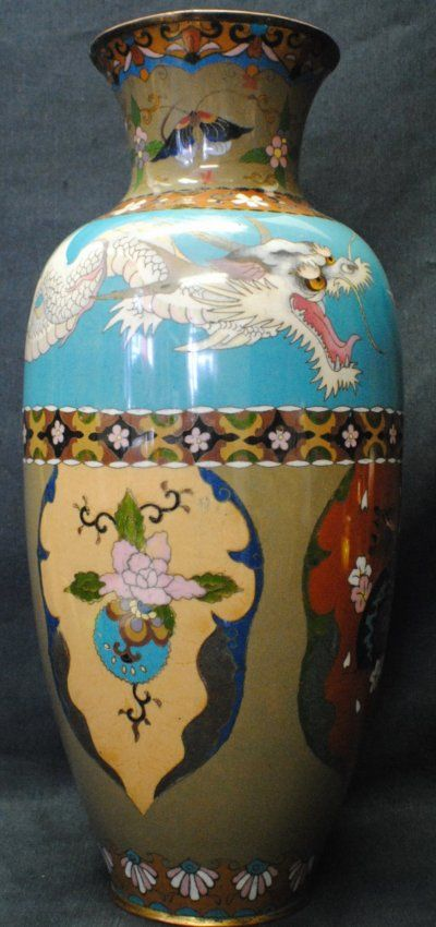 Japanese Cloisonne vase with Dragon very unusial style - colorblocking
