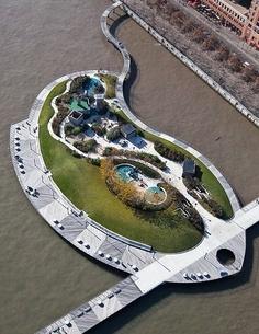 Pier C Park, New Jersey City - Ruimte voor recreatie op het water