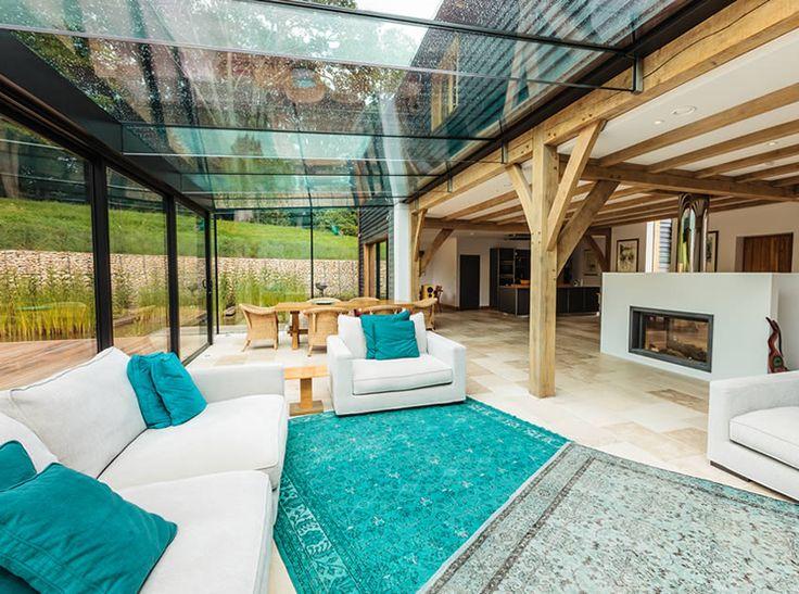 Contemporary oak-framed house interior