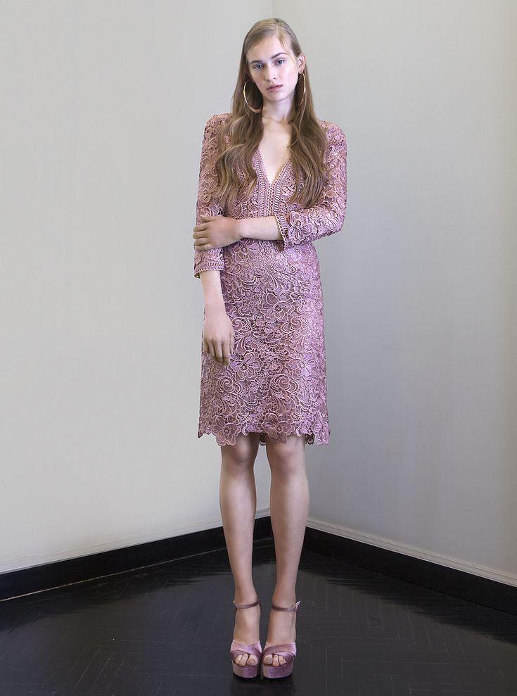 PR 1776 V-Neck Lace Dress, Vintage Rose