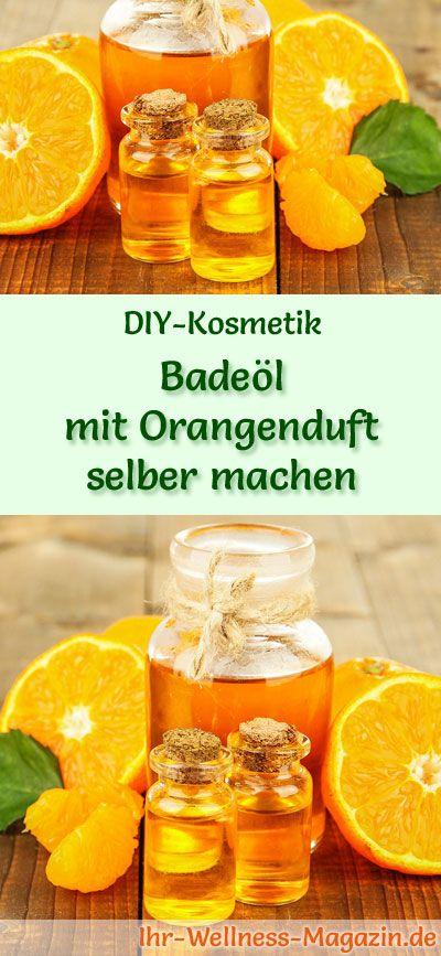 Badezusätze selber machen: Badeöl mit Orangenduft - Anleitung: Öl und Emulgator mit einem Mixer zu einer homogenen Flüssigkeit glatt rühren ... #diy #selbermachen #körperpflege #geschenkidee