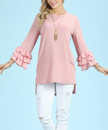 5d9bc7e5305 Suzanne Betro Dusty Rose Ruffle-Sleeve Hi-Low Tunic - Plus Too   zulily