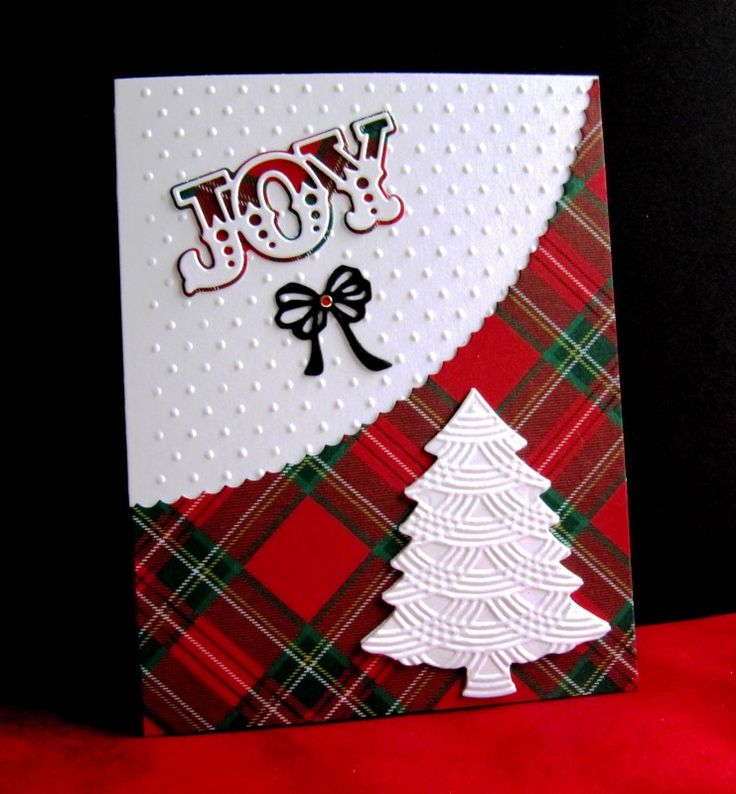 handmade Christmas card: IC577 Joy by catluvr2 ... bright white die cuts with embossing folder texture ... perfect pairing with plaid paper in bright red and green plaid paper ...
