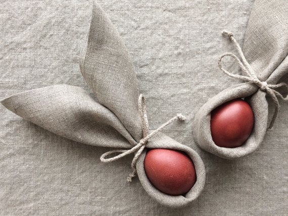 Natural linen napkins Easter napkins set of 6 by daiktuteka