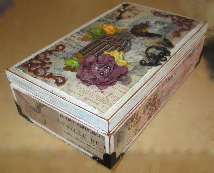 Small wooden box with patina, decorated with scrapbook paper, metal and wooden ornaments ...