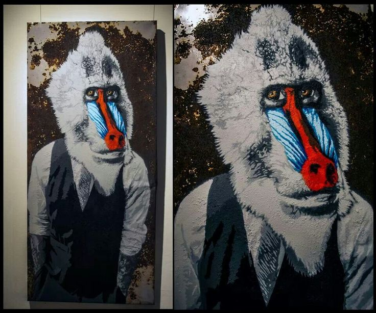 """ARTESTENSIVA no facebook - """"papio"""" stencil 22 camadas em metal enferrujado *.*"""