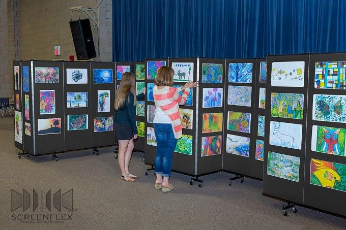 Rolling art show display creative bucket pinterest for Display walls for art shows