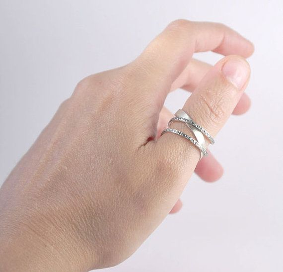 Silver thumb ring Adjustable geometric silver by kalypsosilver