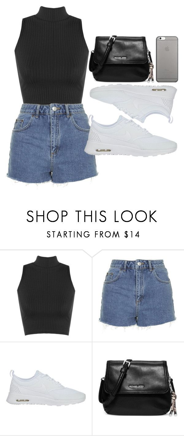 """""""Mikee"""" by dreamtoparis ❤ liked on Polyvore featuring WearAll, Topshop, NIKE, Michael Kors and Native Union"""